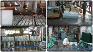 quy trình làm đá và vẩn chuyển đá mất vệ sinh