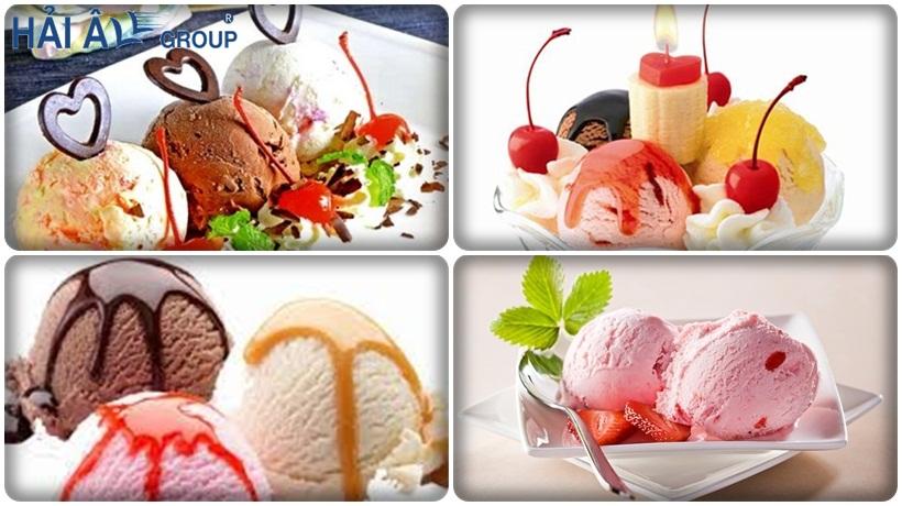 các loại kem cứng từ máy làm kem