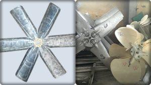 cánh quạt kim loại và cánh quạt nhựa của tháp giải nhiệt
